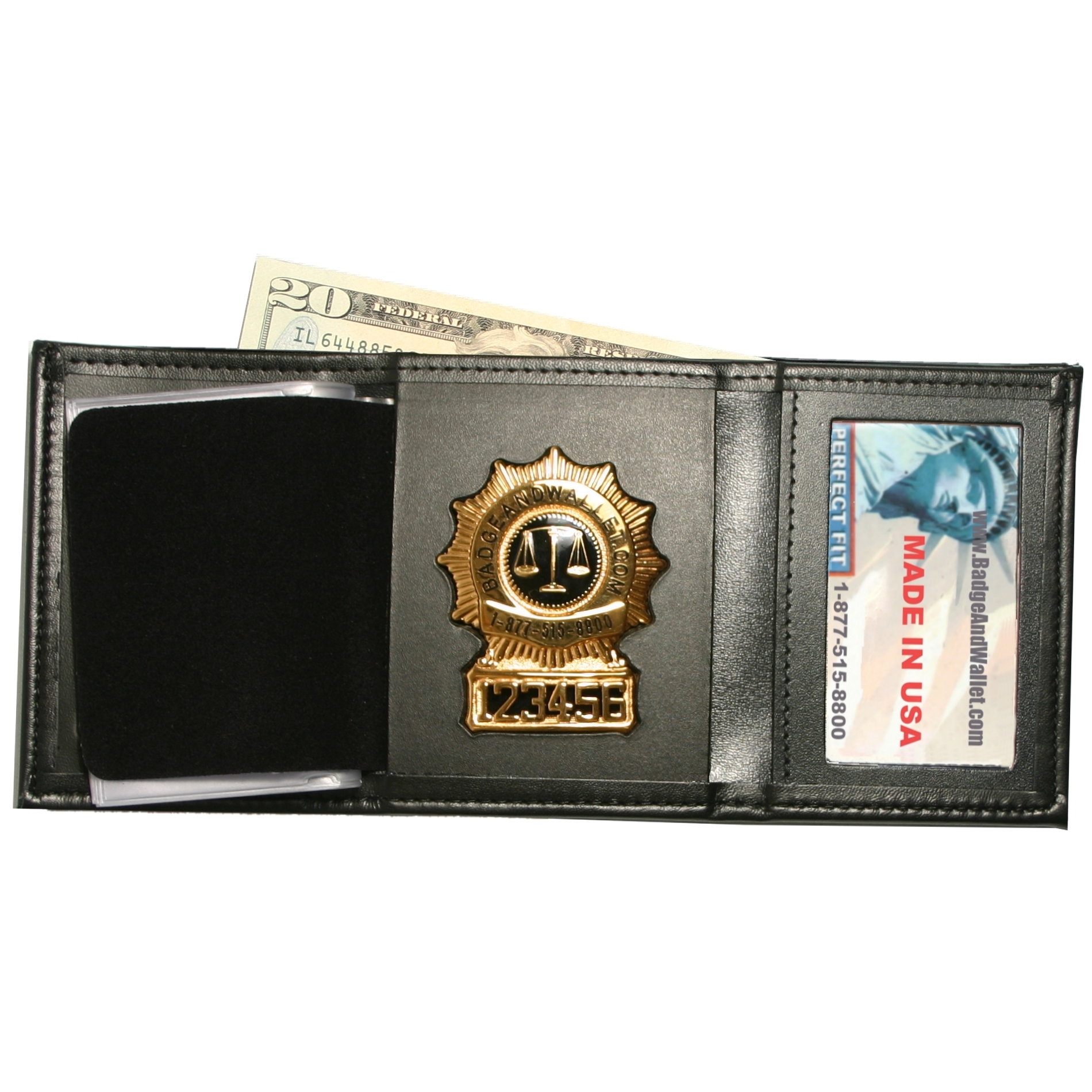 Tri Fold Badge Wallet W Single Id Amp Cc Slots Badge And