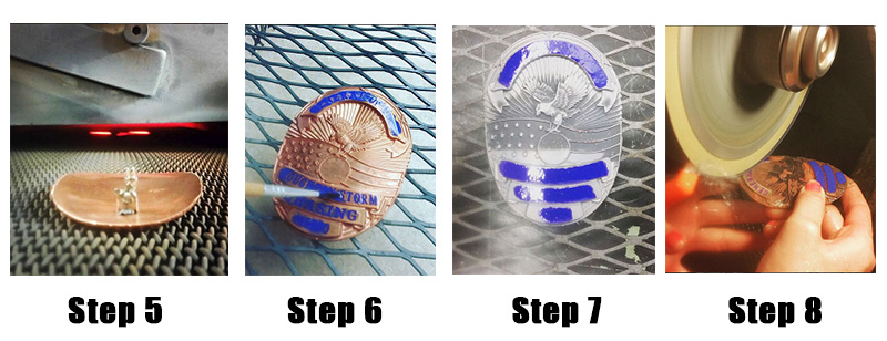 the badge making process steps 5 to 8