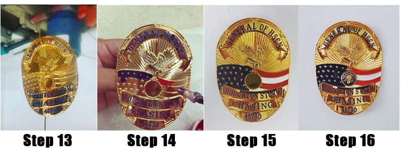 the badge making process steps 13 to 16