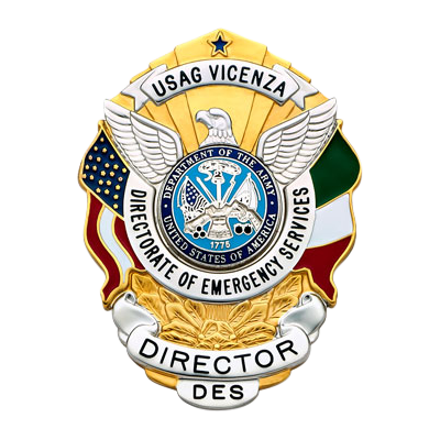 Director of Emergency Services Badge with US and Italy flags.