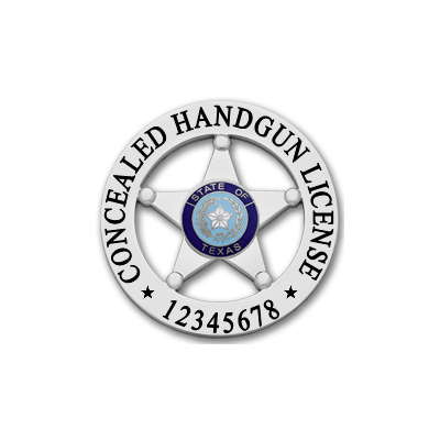 Texas Concealed Handgun License in Nickel with Blue Seal