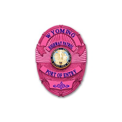 Wyoming Highway Patrol Port of Entry Breast Cancer Awareness Badge
