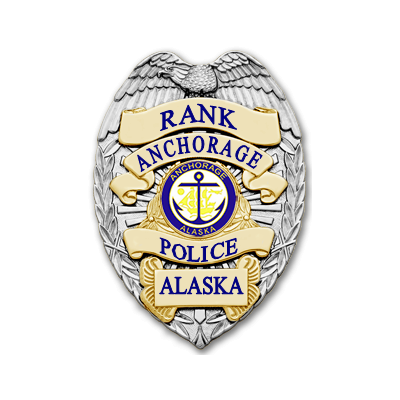 Anchorage PD Silver Badge for Police Officers, Community Service Officer, and Support Services