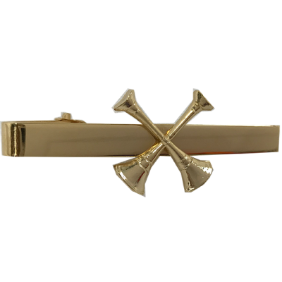 Two Crossed Bugles - Tie Bar (Gold)