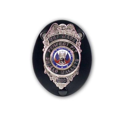 Universal Oval Badge Clip with Snap & Chain - Perfect Fit USA - Black